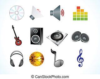 abstract, audio, iconen
