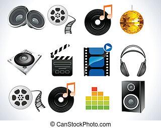 abstract, audio, set, pictogram