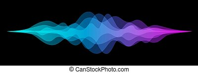 Abstract audio sound wave background. Blue and purple voice or music signal waveform vector illustration. Digital beats of volume color soundwave. Graphic electronic curve shape