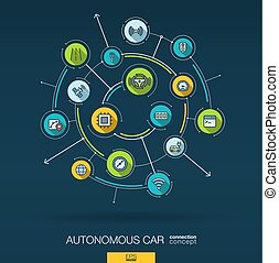Abstract autonomous electric car, self-driving, autopilot background. Digital connect system with integrated circles, flat thin line icons. Vector infographic