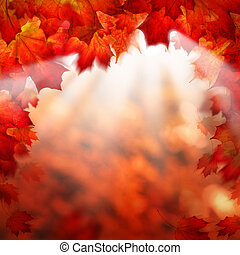 Abstract Autumn Background Border with Fall Maple Leaves
