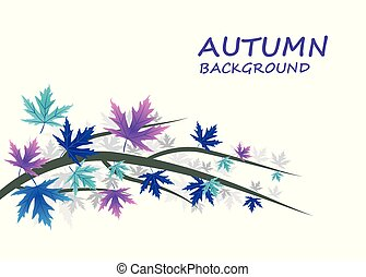 Abstract Autumn background with Blue and purple leaves