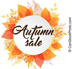 Abstract autumn banner with leaves