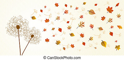 Abstract autumn composition. Dandelion with flying leaves and flower petals background illustration. EPS10 vector file organized in layers for easy editing.