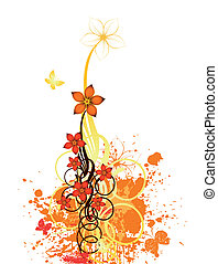 Abstract autumn floral design background. Vector