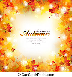 Abstract Autumn Frame with Colorful Leaves