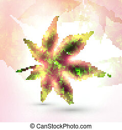 Abstract autumn leaf on colorful background, vector illustration eps10