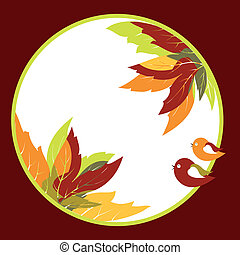 Abstract autumn leaves with bird background