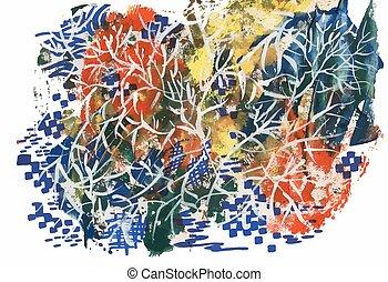 abstract autumn tree on white