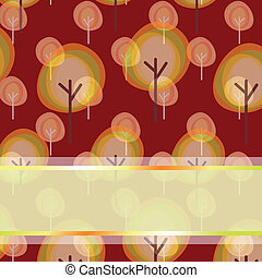 Abstract autumn tree seamless pattern greeting card