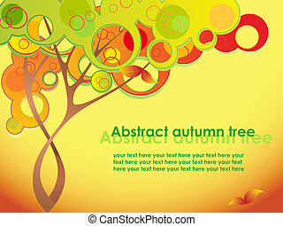 Abstract autumn tree with red leave
