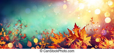 Abstract Autumn With Red Leaves On Blurred Background - Colors Trend 2020