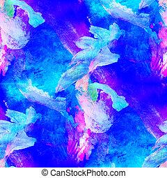 abstract avant-garde blue, purple seamless wallpaper ...