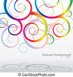 Abstract bacground with rainbow curls, vector illustration