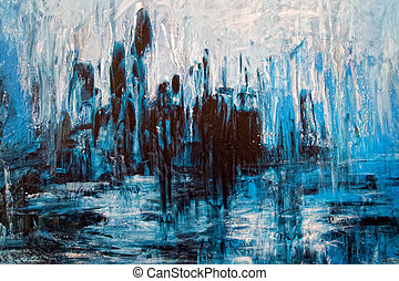 Abstract backdrop - messy grunge artistic painting in blue