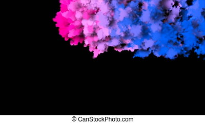 Abstract backdrop with colorful smoke isolated on black background