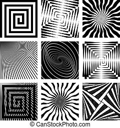 Abstract backdrops set. Rotation, spiral and radial motion...