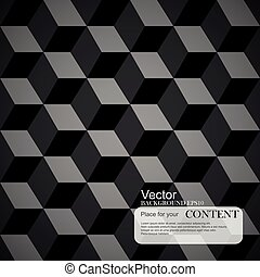 Abstract background, 3d cubes, black texture