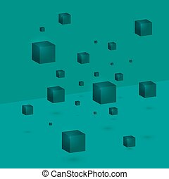Abstract background 3d cubes hanging in the air.