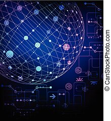 Abstract background. 3d sphere with various technological elements