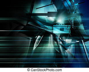 Abstract Background - abstract, chaotic geometry with...