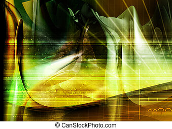 abstract, three dimensional background with chaotic geometry, grids, light and color passes. great for backgrounds.