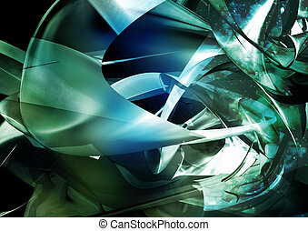 Abstract Background - abstract, three dimensional, chaotic...