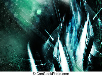 abstract, three dimensional, chaotic geometry with light and color passes. great for backgrounds.