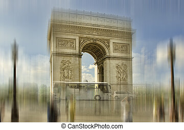 Abstract background. Arch of Triumph, Paris, France. Blur effect defocusing filter applied, with vintage instagram look.