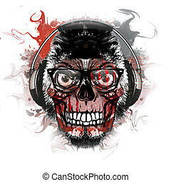 abstract background art with skull