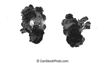 Abstract background black Ink or smoke with alpha mask for motion effects and compositing VFX. Beautiful Ink clouds or smoke move in slow motion with luma matte. Version 19