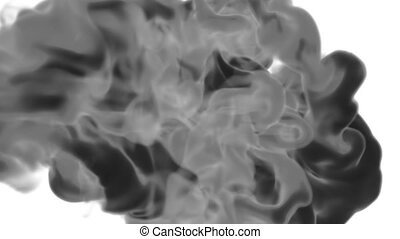 Abstract background black Ink or smoke with alpha mask for motion effects and compositing VFX. Beautiful Ink clouds or smoke move in slow motion with luma matte. Version 17