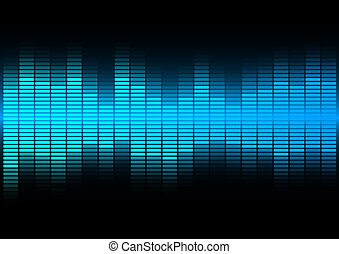 Abstract Background - Blue Equalizer on Black Background
