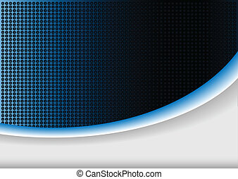 Abstract background blue glowing wave and halftone pattern,...