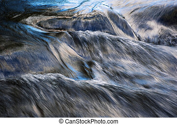 blue reflection of the sky on a flowing river