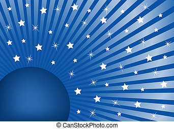 Abstract Background Blue with White Stars