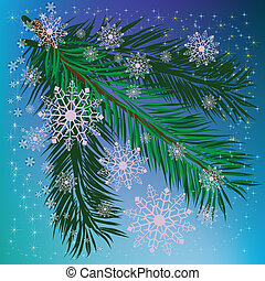 abstract background christmas tree with snowflakes and stars