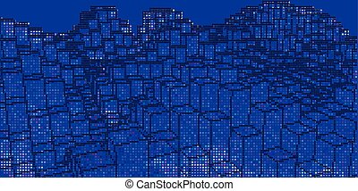 Abstract background cityscape with color dots on blue. Vector illustration.