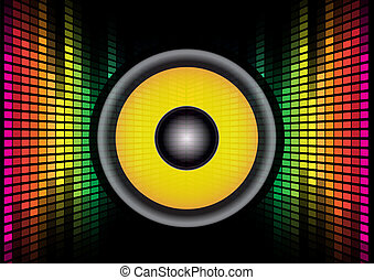 sound system clipart. abstract background - speaker on multicolor equalizer on. sound system clipart