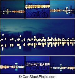 Abstract Background Collage of Beautiful Defocused City Lights, Blurred View of City Skyline and Reflection at Sunset
