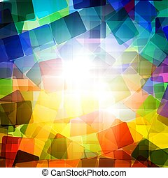 Colorful abstract background - rounded rectangles with bright light in center