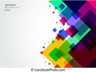 Abstract background colorful geometric square template modern triangles overlapping with white space for text.