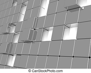 Abstract background consisting of gray metallic cubes
