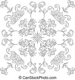 Abstract floral seamless vector graphic background, monochrome contour