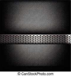 Abstract background dark and black carbon fiber with hold polished metal texture vector illustration 003