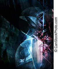 Abstract Background - abstract, chaotic geometry mixed with...