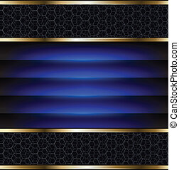 Abstract background elegant blue and gold, vector.
