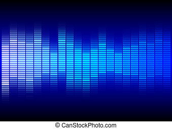 Abstract Background - Equalizer in Shades of Blue on Black Background