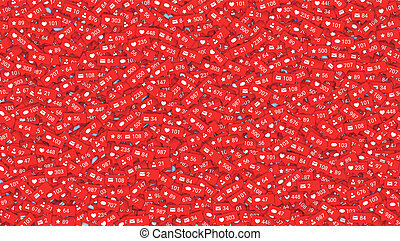 Abstract background filled of icons of social media network activity. Notification of likes, comments, followers. Sign of social network activity with counters, rating scale. Vector illustration