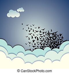 Abstract background flying birds
